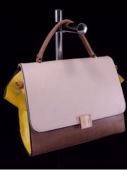 Женская сумка, цвет 89427 Молочный + Желтый купить недорого